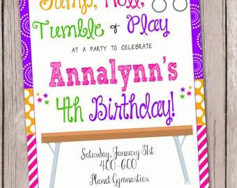Gymnastics Invitation Tumbling Invitation Gymnastics and Tumbling Birthday Invitation