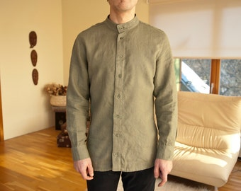 Khaki green color linen classic handmade men's shirt.
