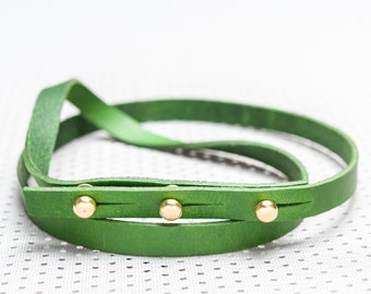 Green simplistic handmade leather belt – ''More or Less''