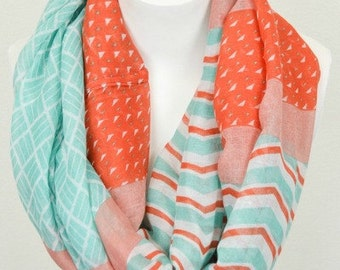 Mint & Coral NEW Long Infinity Scarf Combination Print Viscose Thin Lightweight Scarf Infinity Loop Circle