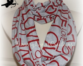 LOVE Infinity Scarf Love Letters Red on Heather Gray Jersey Knit Infinity Scarf Women's Girl's Mommy and Me Accessories