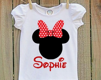 Red Minnie Mouse  Shirt, Minnie Mouse Shirt, Girls Minnie Mouse Shirt, Minnie Mouse, Minnie Mouse Birthday Party, Girls Minnie Mouse Shirt