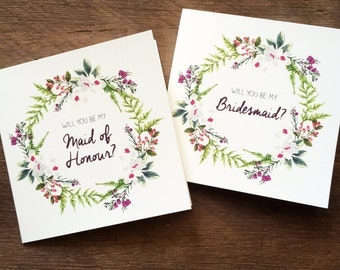 Will You Be  My Bridesmaid or Maid of Honour floral wreath card