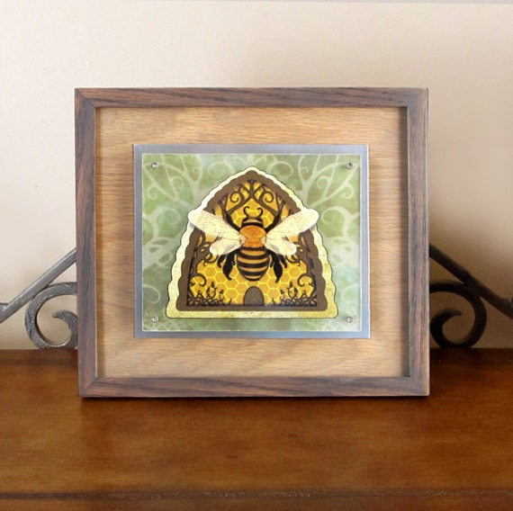 Items similar to honey bee hive float frame paper cut for Bee decorations for the home