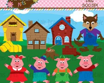 Three little Pigs Digital Clip Art Instant Download