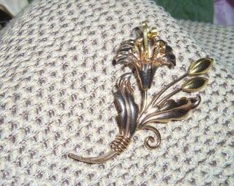 Regel Signed Art Deco 12KT Gold Filled Flower Brooch 2 3/4 inches  long