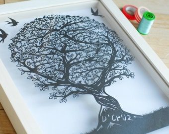 Original unframed family tree papercut perfect for birthdays or mother's day
