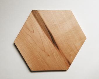 handmade hexagon maple wood serving platter / cutting board