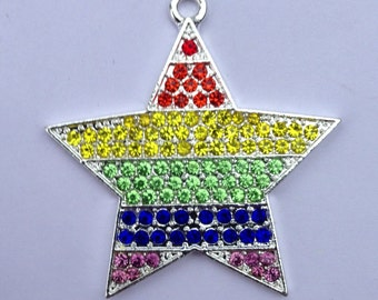 42mm Rainbow Brite Striped Star Rhinestone Pendant Chunky Necklace Beads