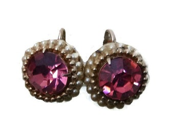 Vintage CORO PINK RHINESTONE Earrings Faceted Glass Screw Back Seed Pearl 50s 60s Prom Bridal Wedding Bridesmaid Jewery MidCentury Jewellery