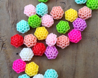 50pcs Mixed Color Mum Dahlia Flower Resin Cabochon, 10mm