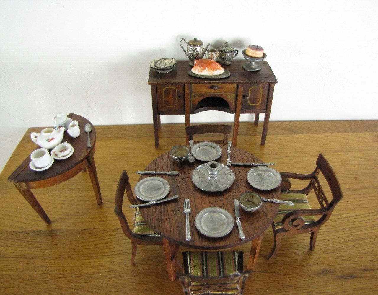 Antique Tynietoy Lynnfield Dollhouse Furniture Dining Room