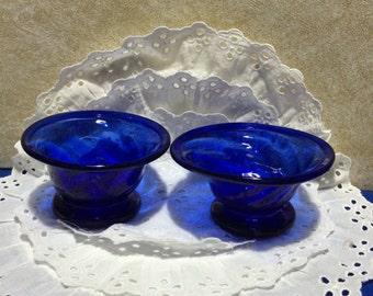 Art Glass Cobalt Blue Candle Holders Tea Light Hand Blown