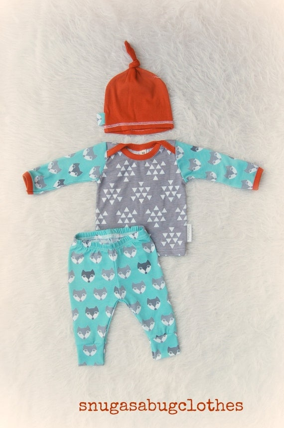 Take Home Outfit Fox Newborn Baby Boy Set With Matching Beanie
