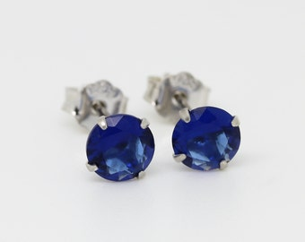Genuine Blue Sapphire earrings, available in White gold or sterling silver - 4mm, 5mm or 6mm sizes!