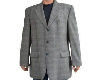 Vintage Louis Feraud checked men blazer jacket pure new virgin wool IWS Schmitt&Lair Innsbruck