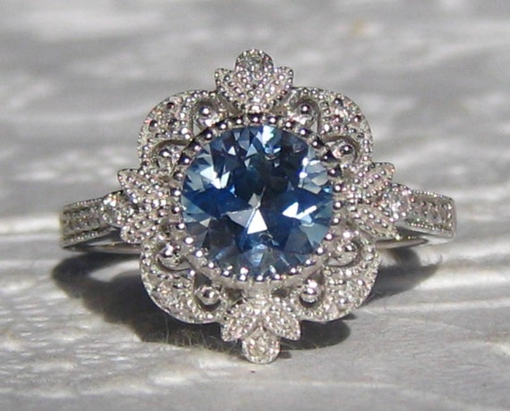Blue Sapphire Engagement Ring Vintage Inspired White Gold