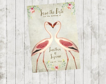 Printable save the date, vintage Save the Date,flamingo save the date, quirky save the date, custom save the date 7 x 5