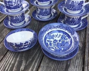 English Blue Willow Set