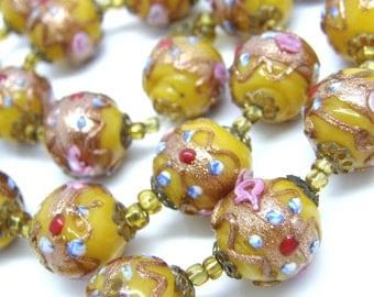 Wedding Cake Fiorato Bead Necklace Venetian Butterscotch 15mm Glass Beads teamvintageusa ecochic team
