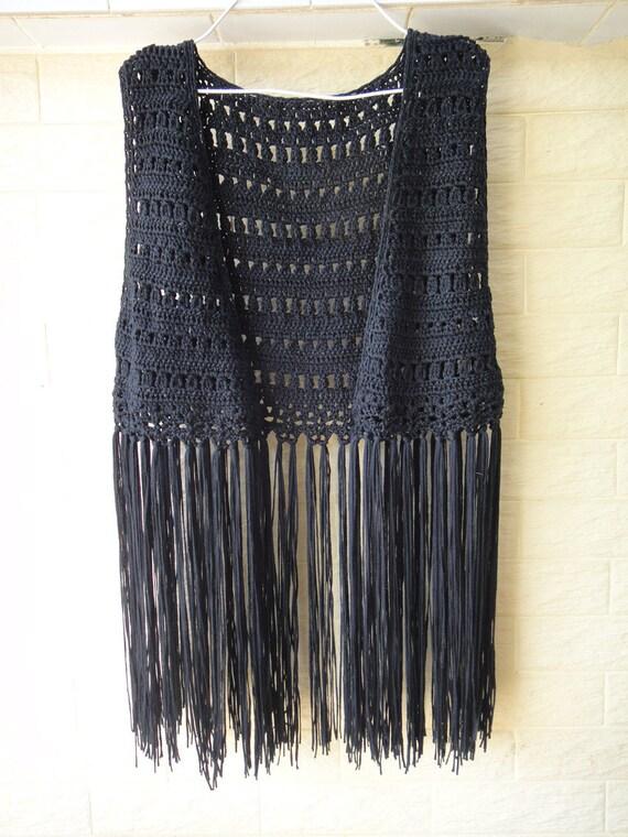 Black Handmade Crochet Fringe Festival Jacket by ...