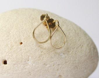 Tiny drop ear studs- dainty teardrop gold/silver post earrings-simple stud earrings-small sterling silver or gold filled tear drop  posts