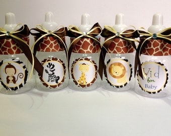"12 small 3.5"" Safari baby bottles for a boy- Baby shower favors- safari baby shower- safari baby shower favor- boy baby shower- giraffe baby"