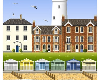 SOUTHWOLD. Travel poster of Southwold Lighthouse, Beach & Huts, Suffolk. A4, A3, A2