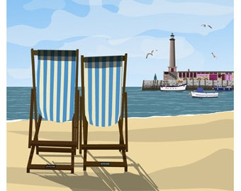 MARGATE. Seaside poster of Deck Chairs on Margate Beach. Harbour Arm in Background. A4, A3, A2