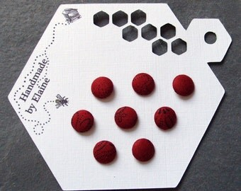 Fabric Covered Buttons - 8 x 10mm buttons, handmade button, wine red buttons, black dot buttons, chic modern buttons, abstract buttons, 1466