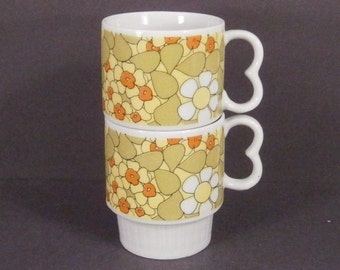 Vintage Midcentury Pair of Stacking Flower Cups or Mugs
