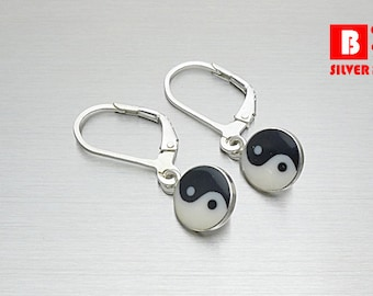 925 Sterling Silver Earrings , Yin Yang Earrings, Hook Earrings (Code : EY2)