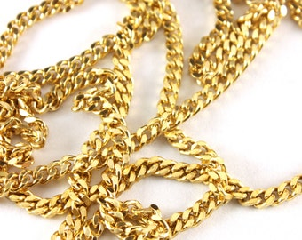 5ft of Large Faceted Polished Brass Curb Chain - C020