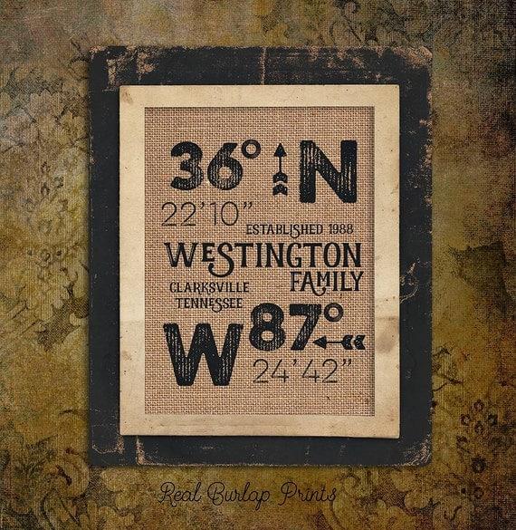 Burlap Print - Burlap Sign - Custom Burlap Print - Custom Burlap Sign - GPS Sign - GPS Print - Housewarming Gift - Latitude Longitude Sign