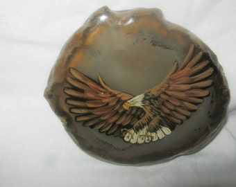 Unusual Vintage Agate Belt Buckle With Eagle