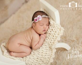 Petite Elegance Collection Kaitlyn in Purples Fushia Organic Tie Back Headband or clip Beautiful Newborn Photo Prop Baby Headband