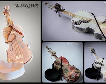 3D SVG PDF Violin gift box DIGITAL download