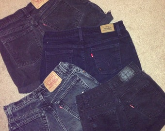 Custom Black High Waisted Shorts / Levi Vintage High Waisted Shorts / Levis / cut off shorts / all sizes / SALE