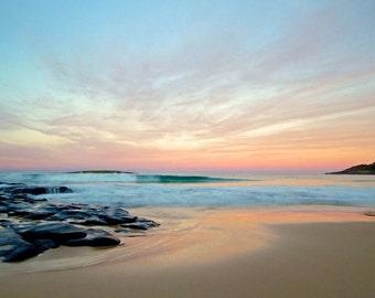 Afternoon Dusk, Beach Photography, Australia Beach Photos, Fine Art Photography, Sunset Beach Photography, Soft pink & turquoise Photo Art