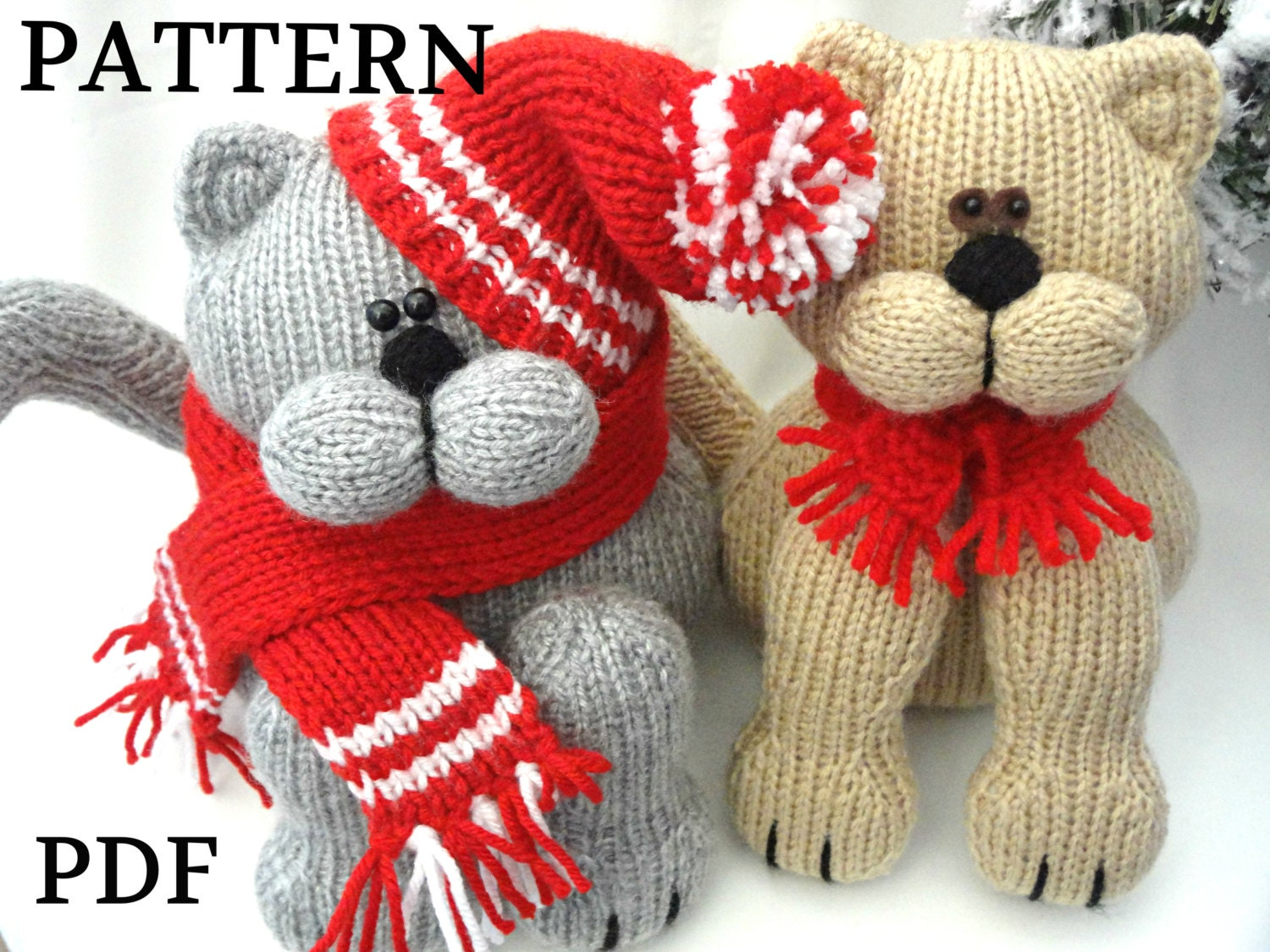 Knitted Amigurumi Cat Pattern : Knitting PATTERN Animal Knit Pattern Cat Animal Patterns