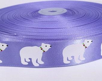 "5 yards of  7/8 inch ""Ice bear"" satin ribbon"