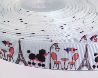 "5 yards of 7/8 inch ""Paris"" grosgrain ribbon"