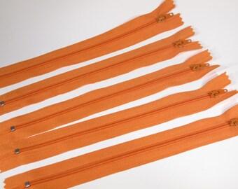 10pc zipper 20cm / 8inch orange closed end (Z9)