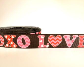 "5 yards of 7/8 ""LOVE XOXO"" inch grosgrain ribbon"