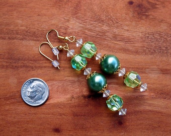 475 Long Beaded Earrings, Green Bead Earrings, Green Dangle Earrings, Made from Vintage Earrings, Womens Accessories