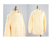 Light Butter Colored Hand Knit Fisherman Popcorn & Cable Knit Slouchy Sweater // Size Large