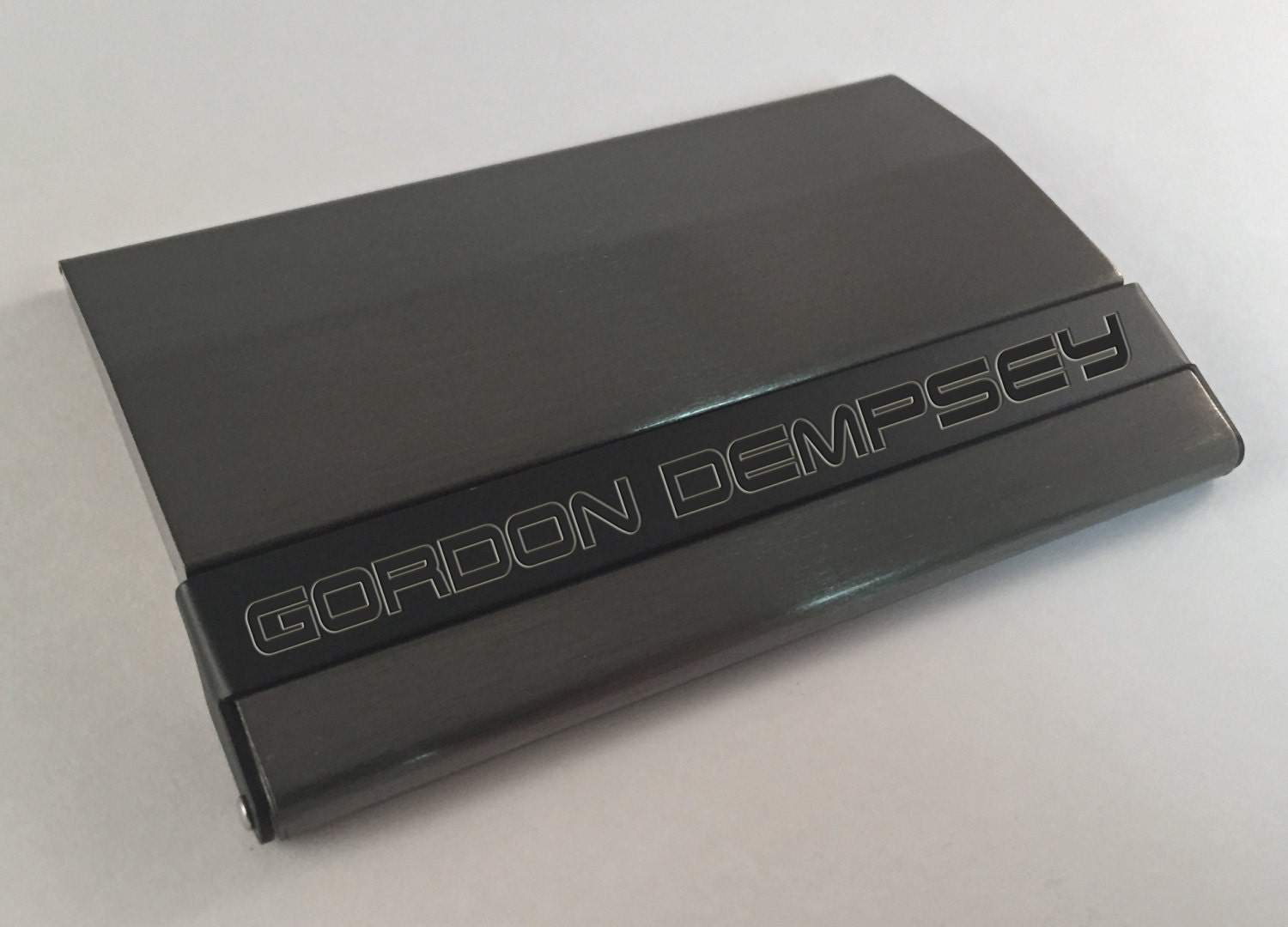 Business Card Holder Gunmetal & Black with Free Engraving