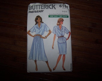 """Butterick 6101 Vintage 1980's Womens Sewing Pattern Short Sleeve Top and Skirts Size 6-14 Bust 30.5-36"""" 6.50 uncut"""