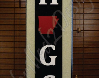 State Pride Hogs Vertical Wood Sign PAINTED - Razorback, Home Decor, Arkansas
