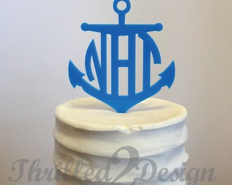 6 inch Anchor with Circle Monogram CAKE TOPPER - Celebrate, Party, Cake Decoration